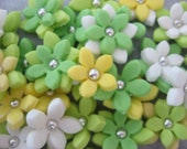 Tinkerbell / Tinker Bell / Peter Pan color scheme 3D Stephanotis Flowers 100% edible Cupcake & Cake Fondant Toppers