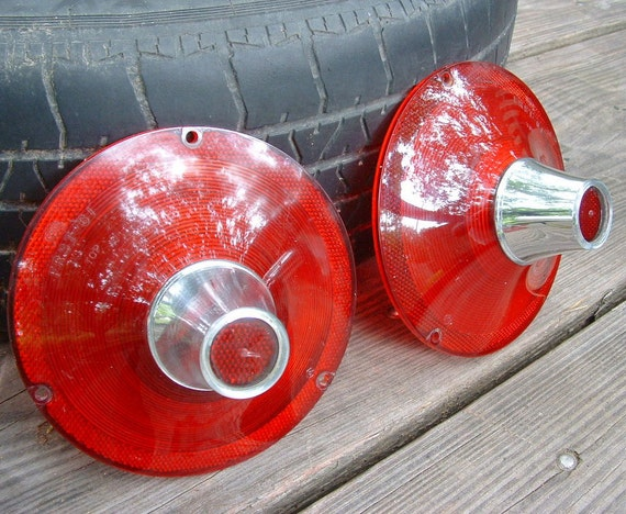 Vintage 1960s Ford Car Tail Light Lens Covers Salvage Car Part for Steampunk Assemblage Art