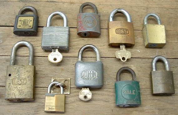 Lot of 10 Vintage Padlocks Best Yale Corbin Padlocks Assemblage Upcycle Art