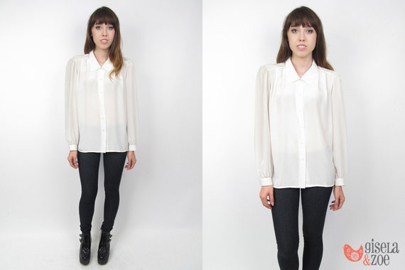 1980s Blouse / Button Up Blouse / 80s Top / Off White Blouse