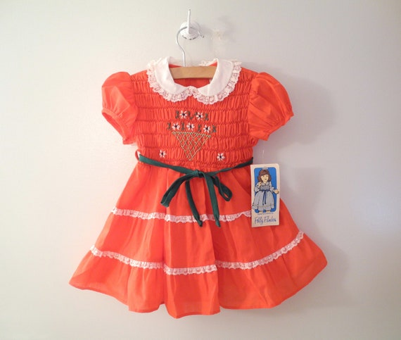 """1960's """"Polly Flinders"""" Red, Green and White Smocked Dress"""