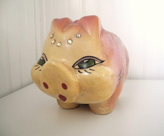 1950 39 s handmade piggy bank for Handmade coin bank