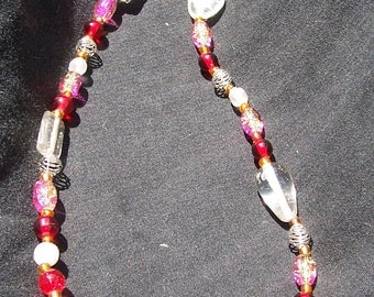 Handmade Pink and Silver Necklace-- CLEARANCE PRICE