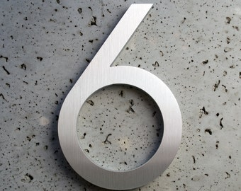 Modern House Numbers Aluminum Modern Font Number Six  6