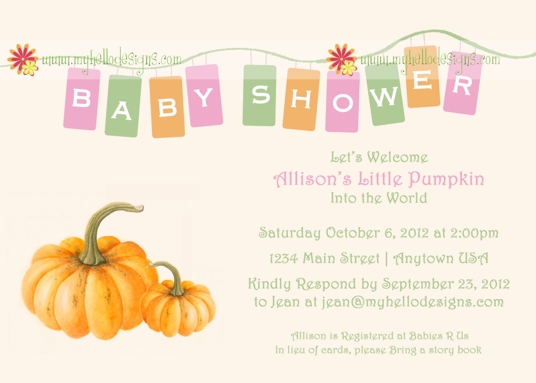 baby shower invitation little pumpkin by myhellodesigns on etsy