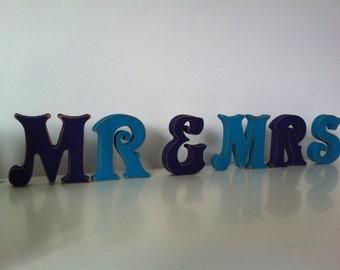 Handpainted Wooden Letters Letters - Mr & Mrs - Victorian Font - 20cm