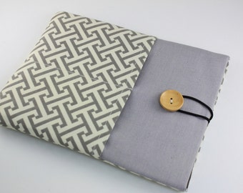 iPad Case, iPad Sleeve, iPad Cover, PADDED, with pockets for iPhone - Gray Geometrical Pattern