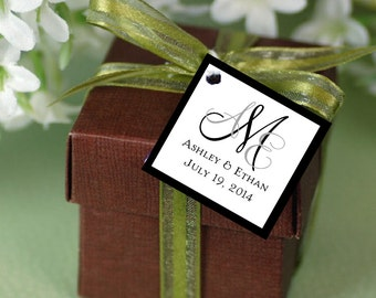 100 Monogram Favor Tags.  Wedding favors - monogrammed