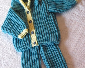 Knitted Baby Set Jacket with Hood and Pants (For Baby's to 6-12 months)