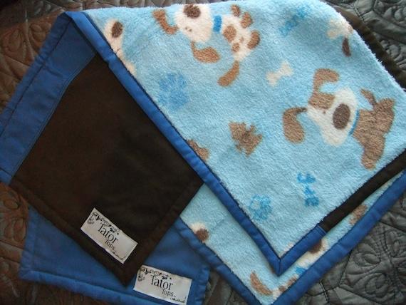 SPECIAL- 2 SUPER SOFT Burp Cloths-Puppy Blue & Puppy Brown/Blue