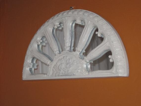 A Palladium Half Moon Mirror Fleur De Lis Design Upped In