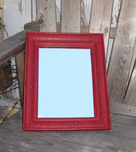 Rustic Shabby Old Frame Upped in Distressed Red With New Mirror