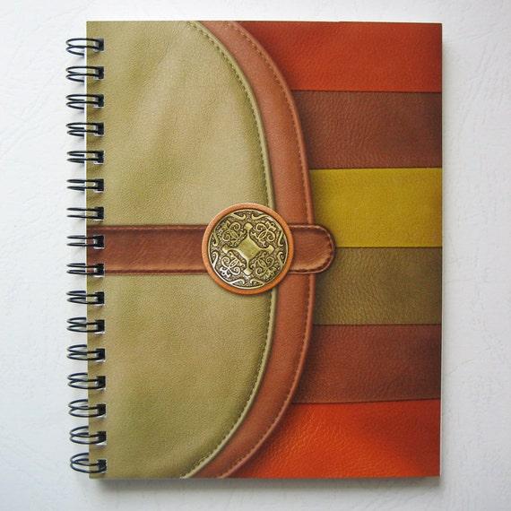 Fashion Spiral Bound Notebook or Journal. Green, brown, orange.