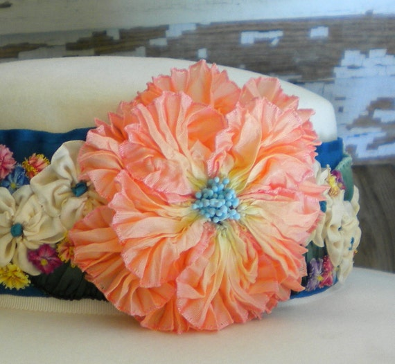 Ribbonwork Pleated Flower Multicolor Hatband