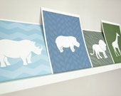 Rhino Art Print / Wild Animal Set / Choose your Colors and Background / 8x10 / Wall Art Poster