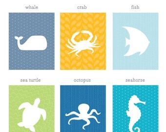 Ocean Animal Art Print Set / Nursery Aquatic Prints / Choose from Six Designs / 8x10 / Wall Art Poster
