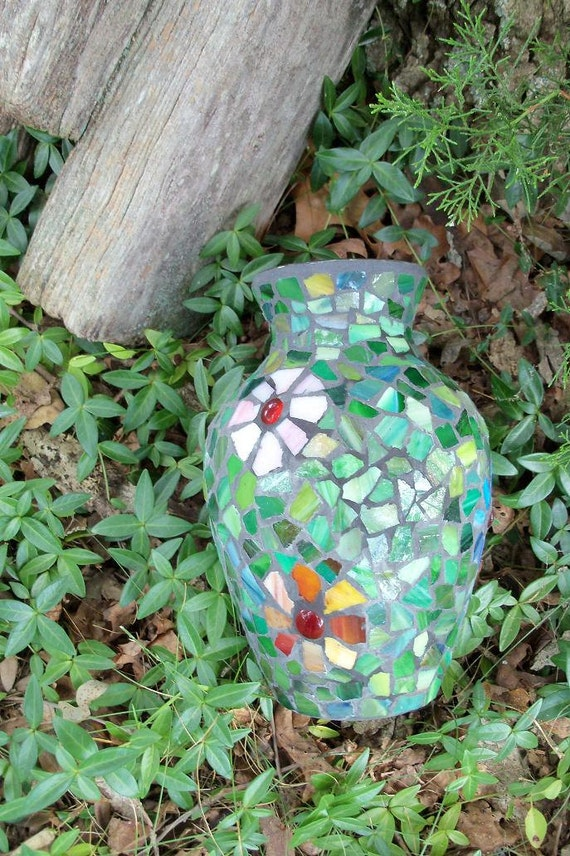 Mosiac Urn Style Vase Jewel Tone Green Indoor or Outdoor Decor