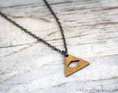 Diamond Eye - Triangle Brass Necklace, Simple, Minimal, Raw Brass
