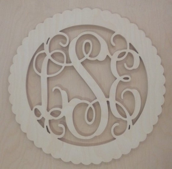24 inch BORDER Vine connected wooden monogram letters - round with scalloped edges
