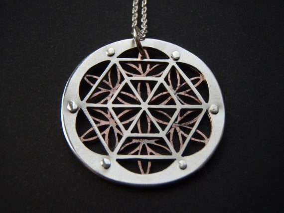 Flower of Life Geometry Pendant - silver and oxidised copper