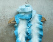 Felted Wool Scarf - hand felted - Turquoise Blues- statement accessory long wet felted wool scarf for her women blue
