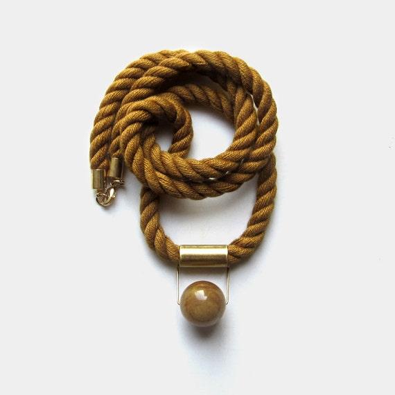 NEW - LAST ONE - Fall cognac Mokuba rope and jade