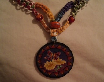 hAppyneSS is a bright colorful hemp necklace...daisy beads and fimo pendant free ship to u.s.