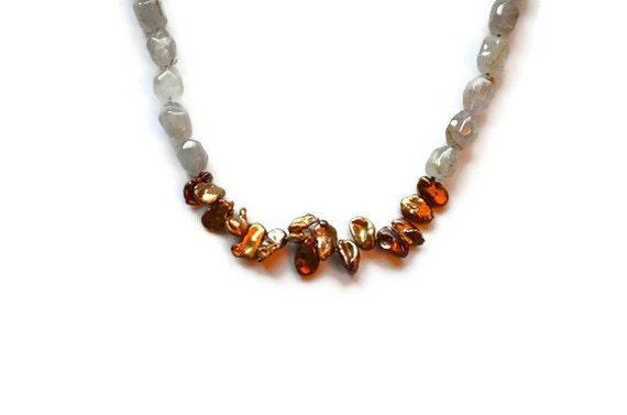 Keshi Pearl and Rutilated Quartz Necklace, Chocolate Bronze Copper Pearls, Golden Rutilated Quartz Gemstones, Hand Knotted