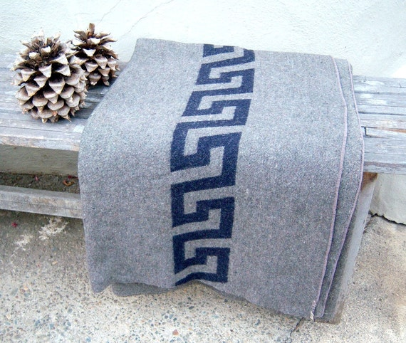 "RESERVED FOR TROY Vintage gray wool blanket // Greek // 61"" x 76"" // incredibly soft"