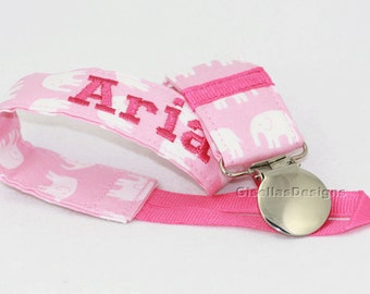 Pink elephant Pacifier Clip, Handmade baby shower gift, Personalized pacifier clip.
