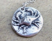 Zodiac cancer crab wax seal style pendant created from fine silver June July birthday gift