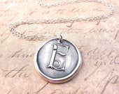 Personalized initial wax seal pendant monogram necklace letter E hand stamped from recycled silver