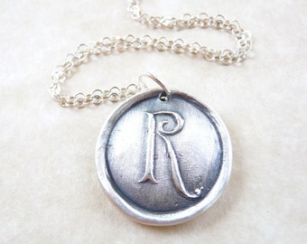 Personalized monogram wax seal initial necklace pendant jewelry in letter R, hand made from recycled silver for Valentine's day