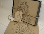 Flower Outline Kraft Paper Thank You Boxed Noted Cards - Set of 8 Count