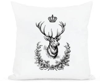 Deer king,  crown , home decor,  instant  Digital Image Download Sheet, Transfer To Pillows ,Burlap Bag, or Print on paper 022