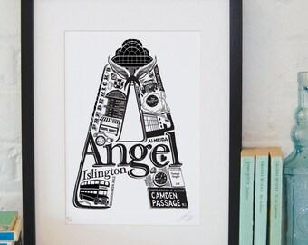 Best of Angel - London print - London poster - London Art - Typographic Print - London illustration - letter art - North London poster