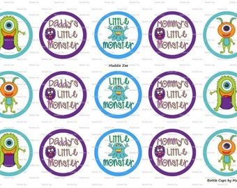 "15 Little Monster Digital Download for 1"" Bottle Caps (4x6)"
