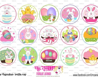 "15 Easter Cupcakes Digital Download for 1"" Bottle Caps (4x6)"