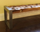 SandDrift 6 Foot Walnut Bench with Brushed Steel Legs