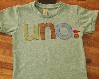 Woodland Birthday Shirt Green Brown and Light Blue Tshirt Bird Birthday shirt Customize colors Boys Girls Organic Blend Tee uno dos