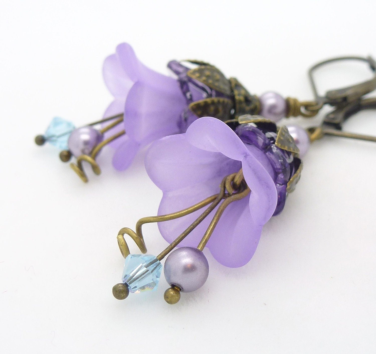 Lucite flower jewelry purple lucite flower earrings lilac