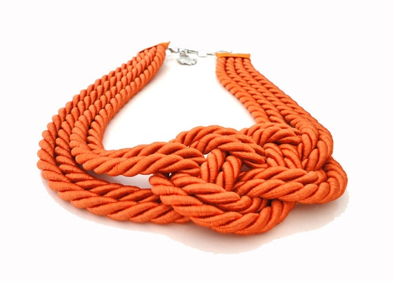Orange Tangerine Sailor's Knot Nautical Rope Infinity Necklace