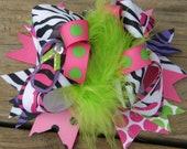 zebra hair bows-zebra hair bow -over the top
