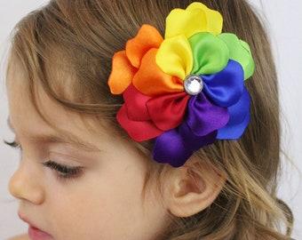 Rainbow Flower Hair Clip - Rainbow Petals - Rainbow Hair Bow Flower Girls Hair Bow - Rainbow Photo Prop