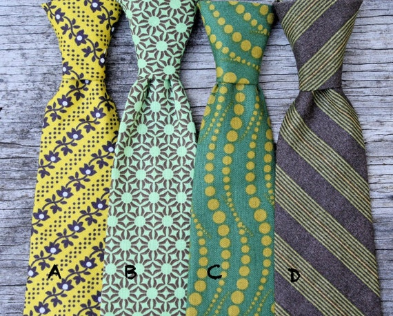 Neckties for Boys in retro yellow green brown