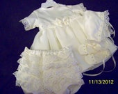 Baby girl christinening gown set with rhinestones