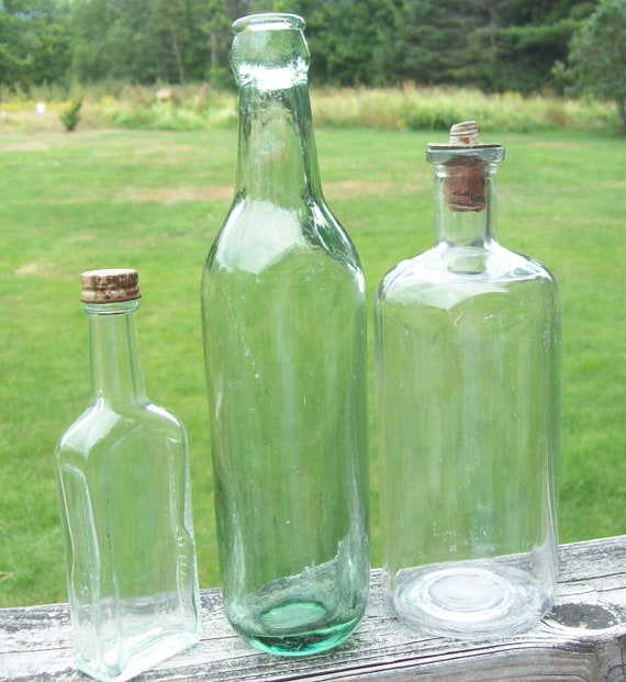 SALE- Vintage Bottles Set of Three / Instant Collection