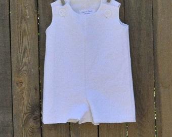 White Linen Boy's Jon Jon, Romper, shortalls...Great for Christenings, Weddings,Photos...Eco-friendly...3m,6m,9m,12m,18m,2t,3t