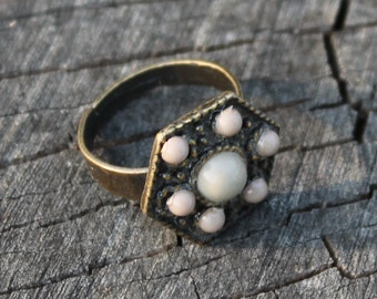 Vintage Brass Ring with Stone with Cabochons