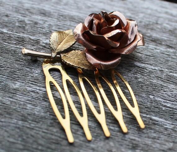 Vintage Flower Rose Gold Hair Comb, Bridal, Wedding, Prom